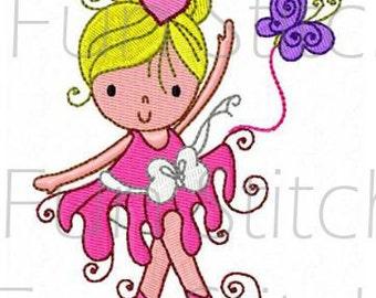set of 10 swirly ballerina machine embroidery design