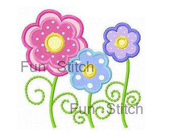 Three spring daisy flowers applique machine embroidery design