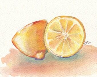 Lemon Still Life Watercolor Painting - Two Yellow Lemons Fruit Watercolor Art Print, 8x10