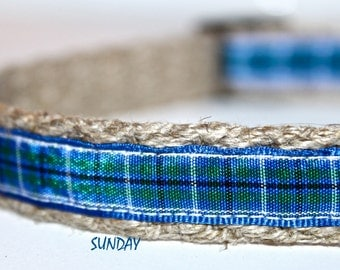 Plaid Royal Collar, Narrow Dog Collar, Adjustable Small Dog Collar, Hemp Dog Collar