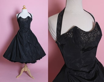 ICONIC Designer 1950's New Look Taffeta Party Dress w/ Pointed 3D Winged Hand Beaded / Rhinestoned Bust & Halter Strap by Fred Perlberg - XS