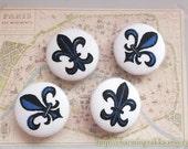 Fabric Covered Buttons (L) - Navy Blue Fleur de Lis (4Pcs, 0.98 Inch)