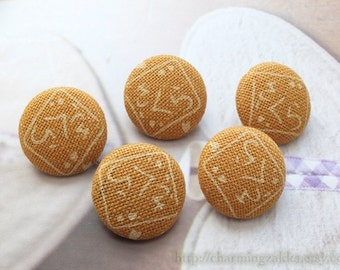 Fabric Covered Buttons (M) - Japanese Zen Yellow Traditional Characters Pattern (5Pcs, 0.75 Inch)