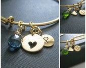 Personalized bangle, mother and daughter jewelry set, gift for mom, initial charm bangle bracelet, nymetals, expandable
