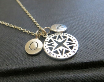 Two initial & Compass necklace, Initial necklace, personalized compass necklace, friendship necklace, bff, gift for best friend,