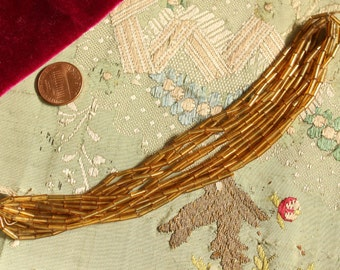 Antique glass bead trim hank gold yellow  Czech art deco millinery  hat cloche flapper dress trim jewelry making