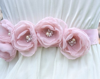 Blush Organza Bridal Sash with Pearls