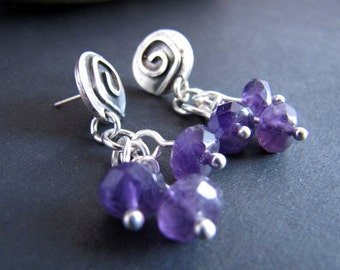 Mayan Vineyard Amethyst Post and Dangle Sterling Silver Earrings