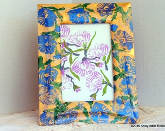 Blue poppies frame for photo picture hand printed collage reuse easel back gold with blue poppy flower wide border