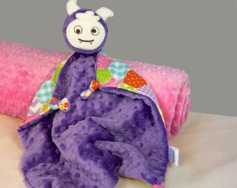 Purple Monster Security Blanket, Purple Baby Lovey, Blanket Doll, Baby Girl Soft Toy, Stuffed Animal, Animal Head Blanket, Baby Blanket