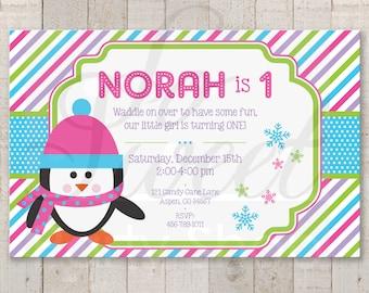 Girls Penguin 1st Birthday Invitations - Girl Penguin Birthday Party Invitations - Winter Onederland Birthday Party Decorations - Set of 12