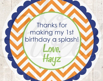 Boys 1st Birthday Personalized Stickers - Party Favor Tags - Thank You Tags - Boys Birthday Party Decorations - Chevron Polkadot - Set of 24