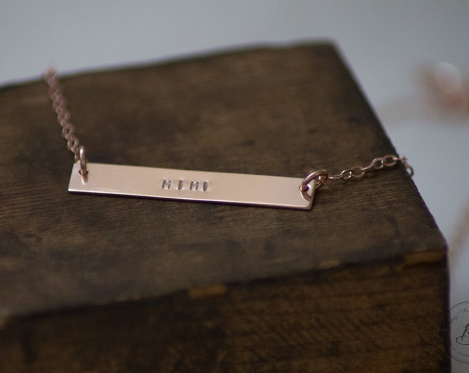 Mimi Rose Gold Bar Necklace - Hand Stamped Jewelry - Layering Necklace by Betsy Farmer Designs - Sterling & 14 KT Gold Fill Available