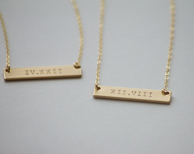 Double Sided Roman Numeral Thick Gold Bar Necklace - 14k Gold Fill - Hand Stamped Jewelry - Layering Necklace by Betsy Farmer Designs