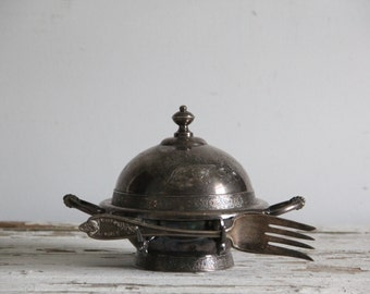 antique covered hors d'oeuvres dish & serving fork / silverplate