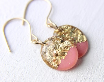 hot pink and gold drop earrings, glitter drop earrings, gold glitter, gold foil earrings, peach earrings, dangle earrings, spring earrings