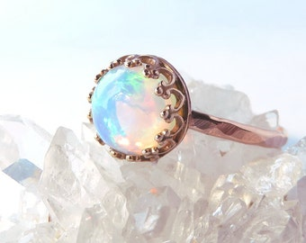 Rose gold opal ring Etsy