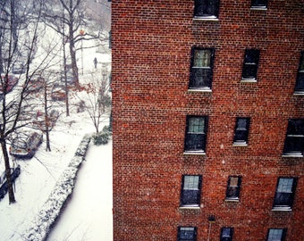 Snowing Away in Queens New York City Photography Print, NYC Winter Snow Wall Art
