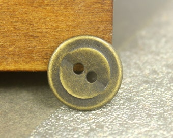 Metal Buttons - Layered Circles Metal Hole Buttons in Antique Brass Color - 0.79 inch - 10 pcs