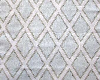 BROOKHAVEN celadon Geometric linen by KRAVET faded green/blues barely tan on ivory