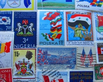 Flags Of Our Fathers 50 Vintage Flags US Worldwide Postage Stamps Nautical Shields Coat of Arms World Peace United Nations Stripes Philately