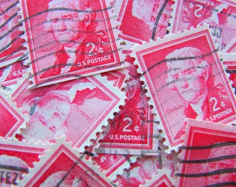 Charlottesville's Finest 50 Vintage US Postage Stamps Thomas Jefferson Prexies Purple 1954 American History UVA Virginia 1033 Philately