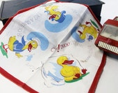 Duck Children's Handkerchief , Ducky dreams of going to sea, Vintage, Great Color