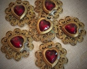 Ruby Faceted Rhinestone and Filigree Heart Charms/Pendants/Connectors Raw Antique Brass (2)