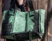 SALE - green&black handfelted handbag ooak