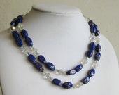 Vintage 50s Designer HOBE Double Strand Blue Art Glass Aurora Borealis Necklace