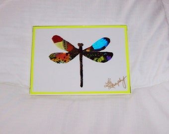 "Real Butterfly Wings Framed "" Dragonfly""  Collage"