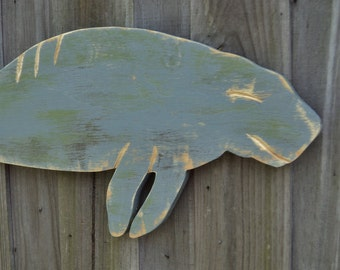 Wooden Manatee Wall Hanging, Sea Cow, Nautical Decor, Wall Art