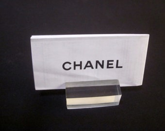 LUCITE desk BUSINESS CARD or place card holder or sign Hollywood Regency Glam price sign display