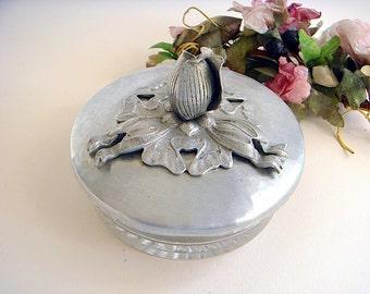 1950s Rodney Kent Hammered Aluminum Tulip Condiment Dish or Vanity Jar