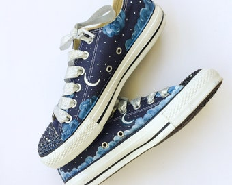 Celestial Night Sky Moon Stars and Clouds Rhinestone Converse