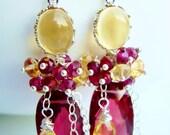 Citrine Fushia Earrings, Raspberry Quartz, Yellow, Pink, Silver Wire Wrapped Earrings, Gemstones, Rubies, Dangle, Luxury