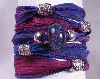 Silk Ribbon Wrap Bracelet - Hand Painted Jewelry - Lampwork Bead - Purple - Quintessence - Purple Sparkle