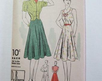 "Antique 1930's DuBarry Dress Pattern #2247B - size 32"" Bust"