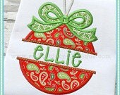 Personalized Split Bow Ornament Appliqué Christmas Shirt - Personalized Embroidery - Custom Machine Applique