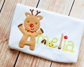 Reindeer Alphabet Appliqué Christmas Shirt - All Letters & Numbers Available!