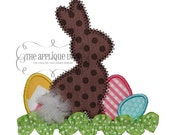 Easter Bunny and Eggs Shirt with Ribbon Trim  - Machine Appliqué - Personalized Embroidery