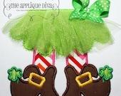 3-D St. Patrick's Day Leprechaun Tutu Shirt - Machine Appliqué - Personalized Embroidery