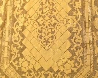 Vintage Antique Lace Tablecloth Lattice Grecian Key Design 64 x 56