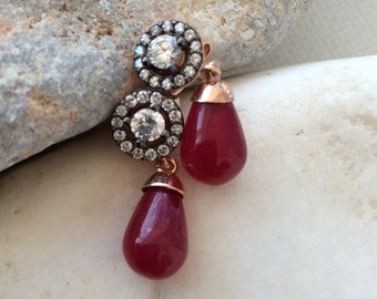 FREE SHIPPING  Edwardian vintage antique inspired Earring  red drop sterling gold