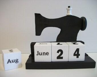 Sewing Machine Calendar Perpetual Wood Block Black Sewing Machine Decor