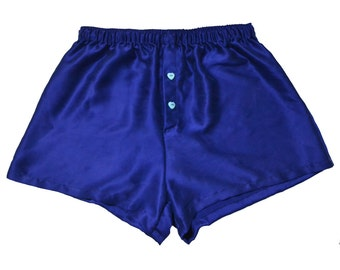 SAMPLE SALE,La Lilouche LUX Coblat Blue Silk satin with Light Blue Heart buttons, men Silk boxer short
