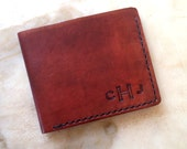 Monogrammed Men's Leather Wallet Groomsmen Gift