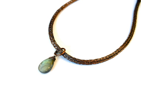 Labradorite Double Viking Knit Necklace in Earth Toned Copper- Aurora Borealis