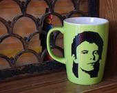 David Bowie Coffee Mug Hand painted Green