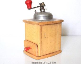 Vintage  Wood Coffee Grinder , Vintage German Coffee Grinder Mill, Item No. 1211